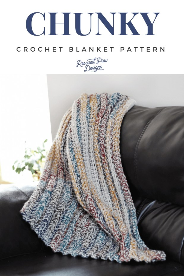 9 Free Crochet Patterns using Wool-Ease Thick and Quick in Hudson Bay | Chunky Crochet Blanket by Rescued Paw Designs | part of a round up on The Unraveled Mitten