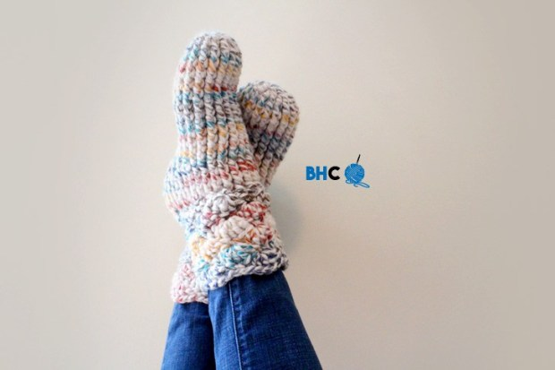 9 Free Crochet Patterns using Wool-Ease Thick and Quick in Hudson Bay | Cozy Slipper Socks by B.hooked Crochet | part of a round up The Unraveled Mitten