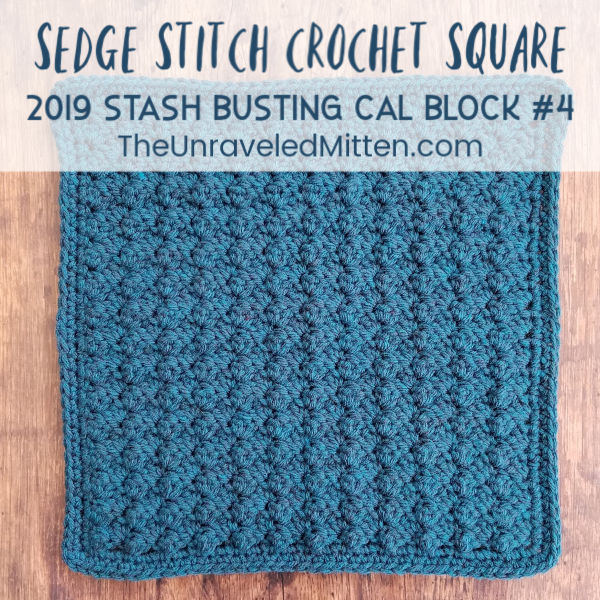 Sedge Stitch Crochet Square | Free Crochet Pattern | 2019 Stash Busting Sampler Afghan CAL | The Unraveled Mitten