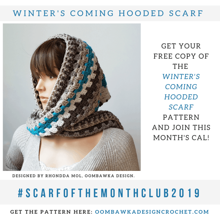 Winter's Coming Hooded Scarf Pattern