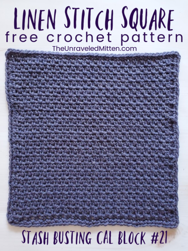 Linen Stitch Square | Free Crochet Pattern | The Unraveled MItten