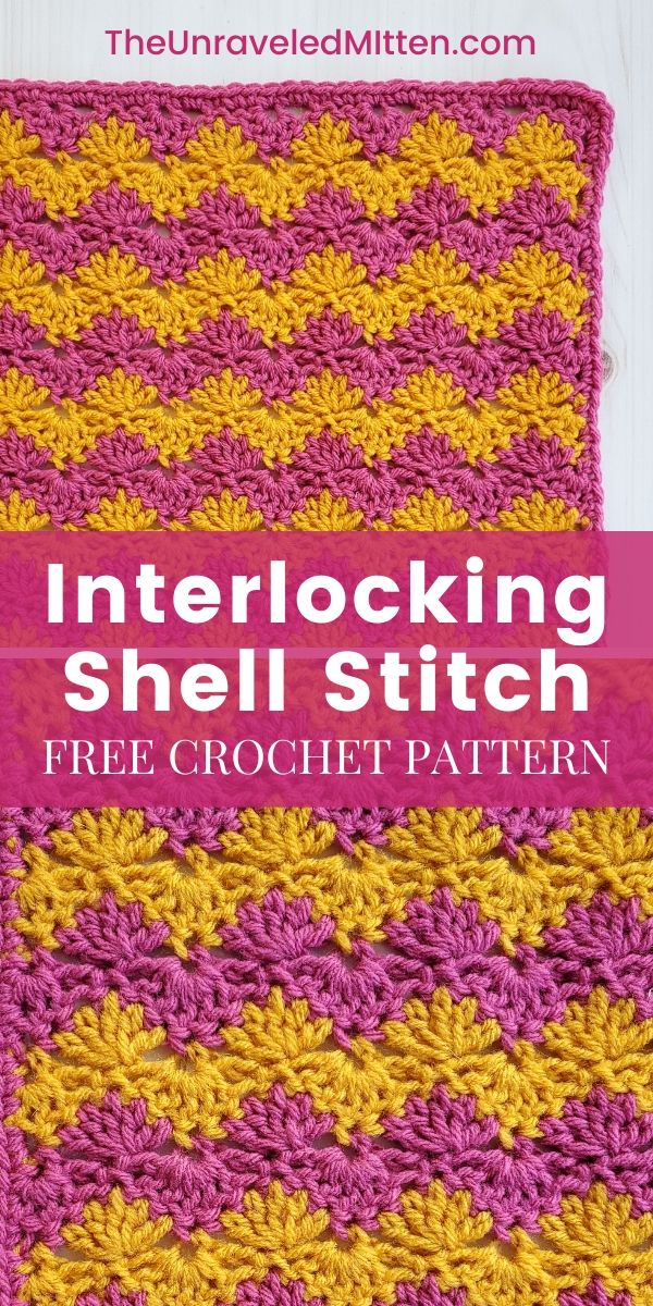 Interlocking Shell Stitch Square | Free Crochet Pattern | The Unraveled Mitten | 2019 Stash Busting Sampler Afghan Crochet Along. This unique crochet stitch had flat edges and a fun ripple pattern suitable for almost any crochet project.