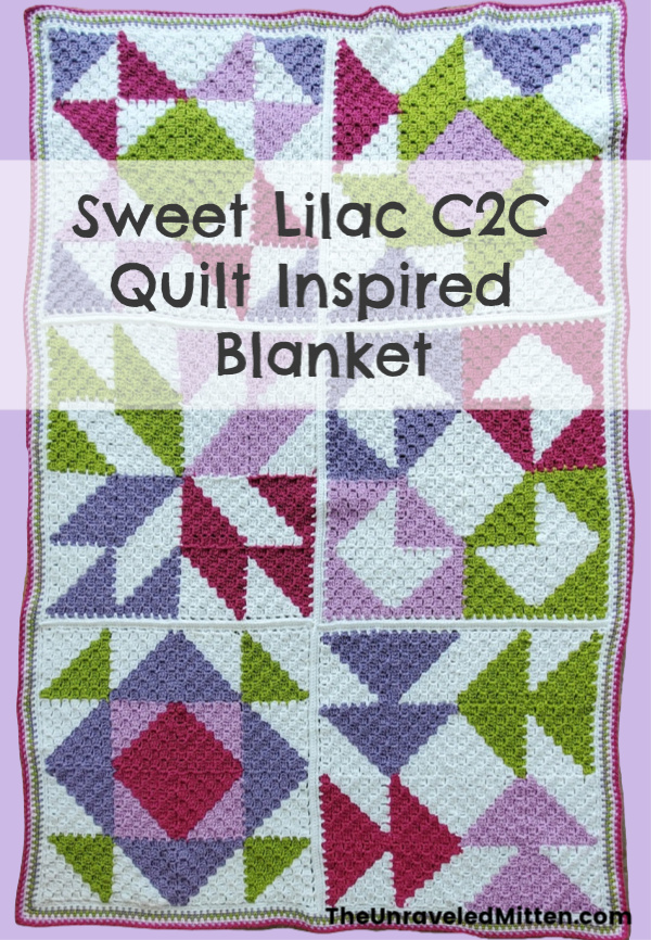 Sweet Lilac C2C Quilt Inspired Throw | Free Crochet Pattern