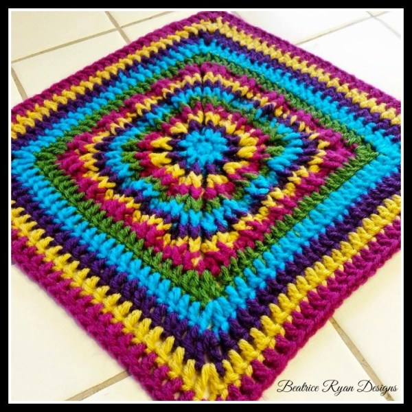 Rainbow Burst Granny Square by Beatrice Ryan Designs Alternate Granny Square for the 2021 Stash Busting Crochet Along