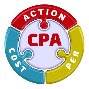 """CPA. Cost Per Action. The check mark in the form of a puzzle. The inscription """"CPA. COST PER ACTION"""" on the puzzle in the shape of a circle. 3D Illustration. Isolated"""