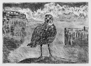 """You Have a Friend in Monterey,"" a drypoint etching by L.S. King"
