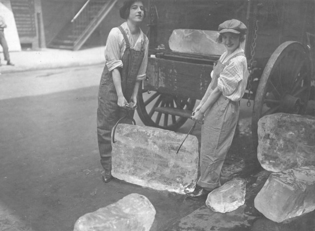 Girls deliver ice. 165-WW-595-A3
