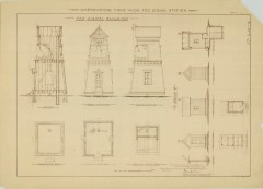 RG26: Lighthouse Plans; WA, Marrowstone Point; #2. Plan for Fog Signal building and Privy, 1895.