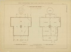 RG26: Lighthouse Plans; WA, Marrowstone Point; #3. Keepers Dwelling, Foundation and First Floor plan, 1895.