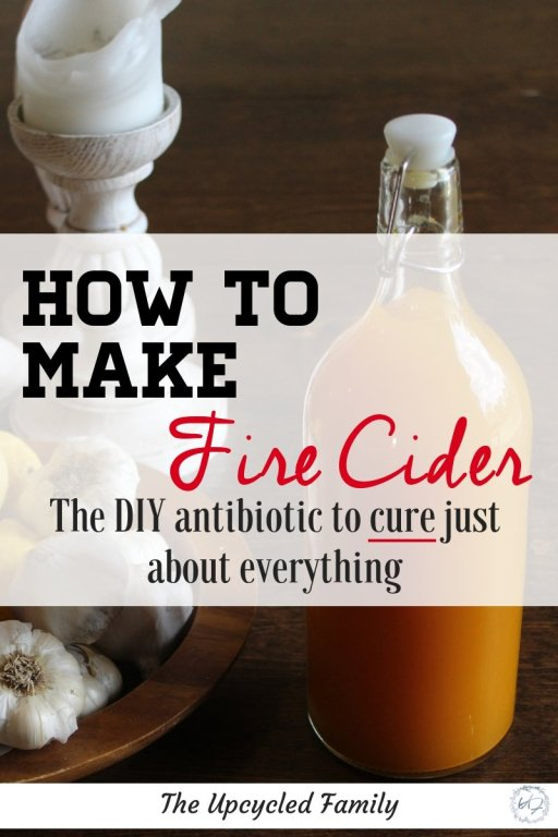 Fire cider what is it and how do you use it. Learn how to use this is a simple yet effective fire cider recipe as a natural antibiotic to cure just about any common illness! #firecider #fireciderrecipe #fireciderbenefits #fireciderhowtomake #naturalantibiotics #firecidertonic #theupcycledfamily