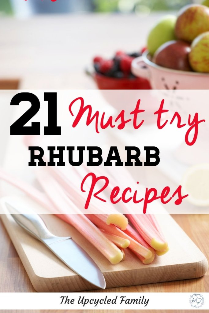 Looking for great rhubarb recipes? Here are 21 of the best rhubarb recipes. Rhubarb jam, rhubarb crisp, rhubarb pie and so much more. #rhubarbrecipes #crisp #pie #jam #bars #sauce #frozen #gardenrecipes #simple