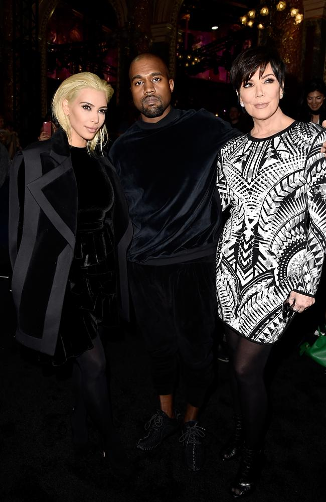 Kanye West Kim Kardashian Kris Jenner Balmain Fashion Show