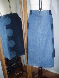 double denim skirt side