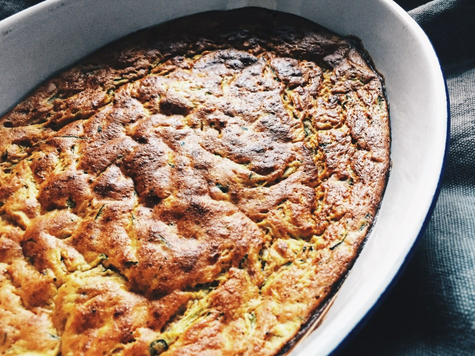High Protein Breakfast Cake with carrots, zucchini and walnuts.