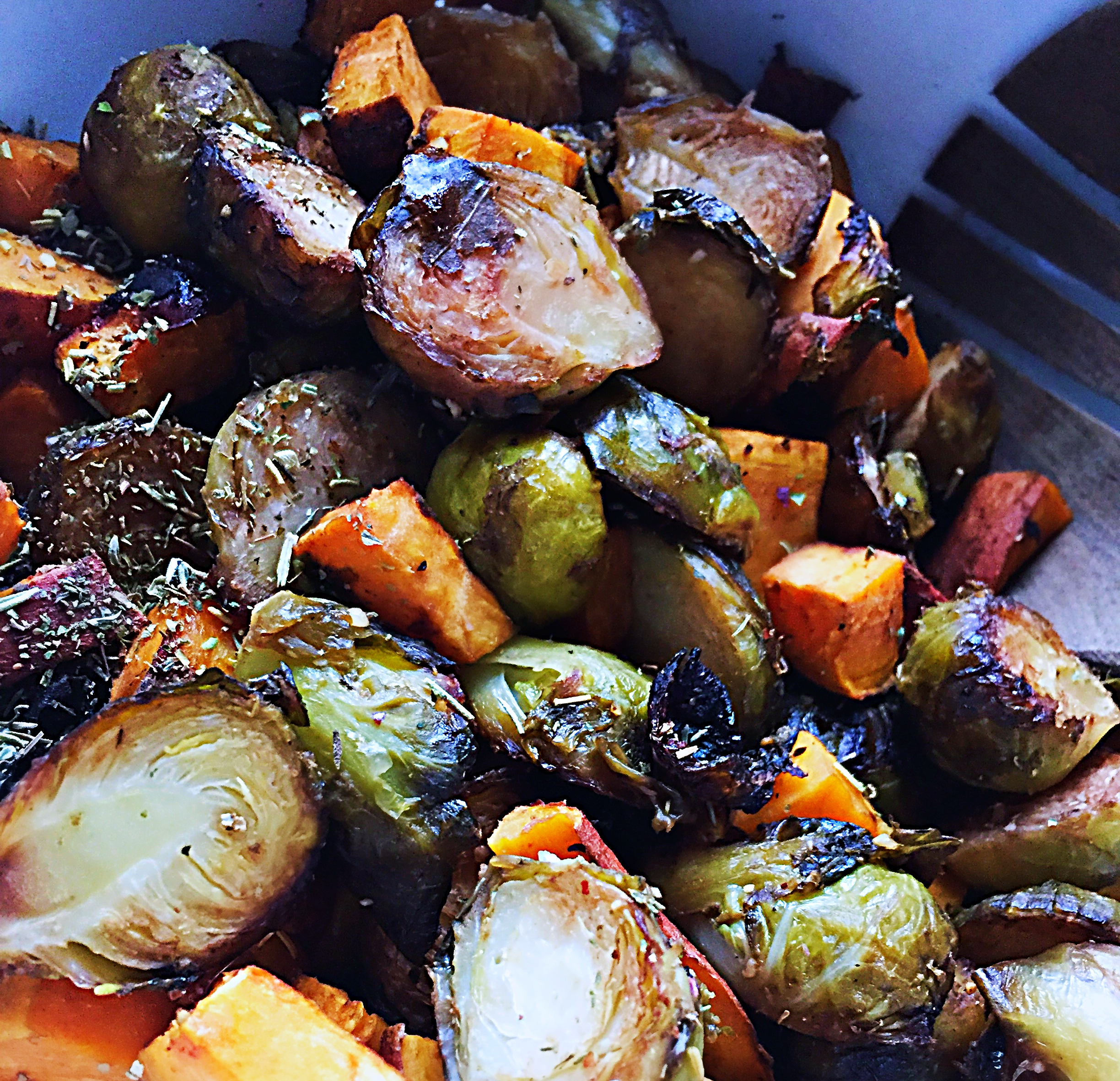 Oven Roasted Brussels Sprouts and Sweet Potatoes with Balsamic Glaze