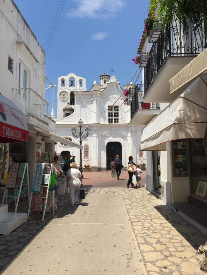 Capri, Italy, Anacapri, town center, town square, square, church, Europe, travel, Amalfi Coast.