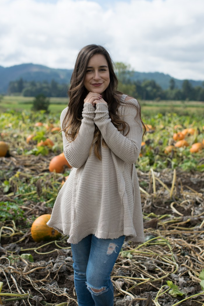 fall, sweater, oatmeal, denim, pumpkin patch, oregon, portland, sauvie island, fashion, clothing
