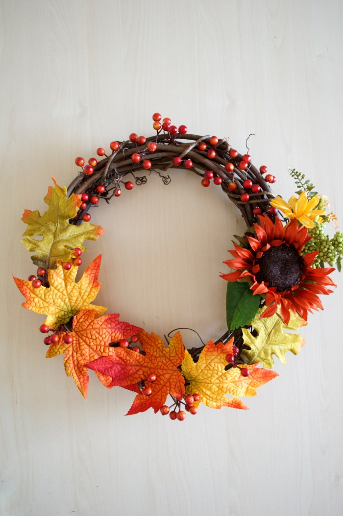 fall, wreath, DIY, seasonal, festive, faux fall leaves, fall leaves, faux fall flowers, fall flowers, faux fall berries, fall berries, berries, flowers, leaves, fall decor, decor.