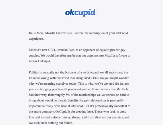okcupid, firefox, mozilla, marriage quality, bigotry, homophobia, brendan eich