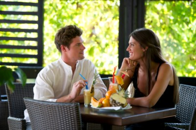 couple sitting at a table, date, lunch date, man and woman,
