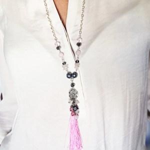 colier ciucure roz sashaccessories