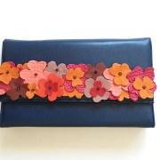 geanta piele albastru mydreambag accesoriu detasabil flori rose sashaccessories