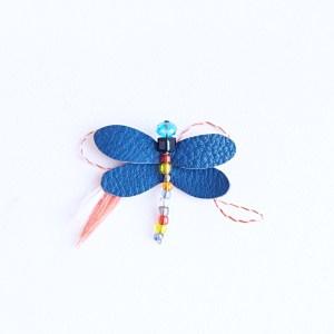 brosa martisor libelula albastra piele sashaccessories