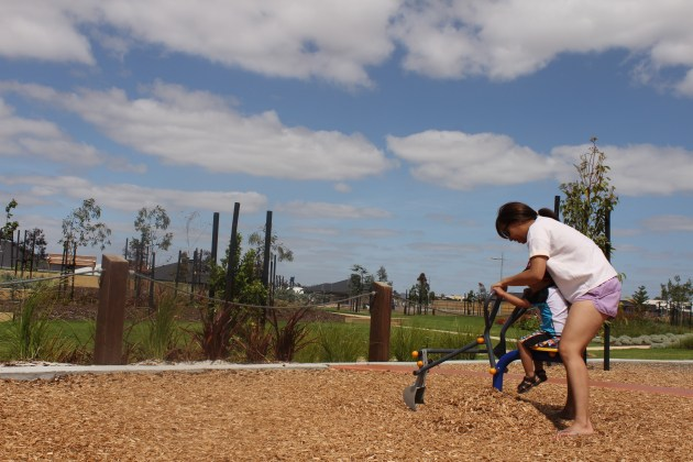 Mother and son Playground fun