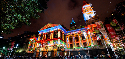 Melbourne Town Hall projections Christmas in Melbourne