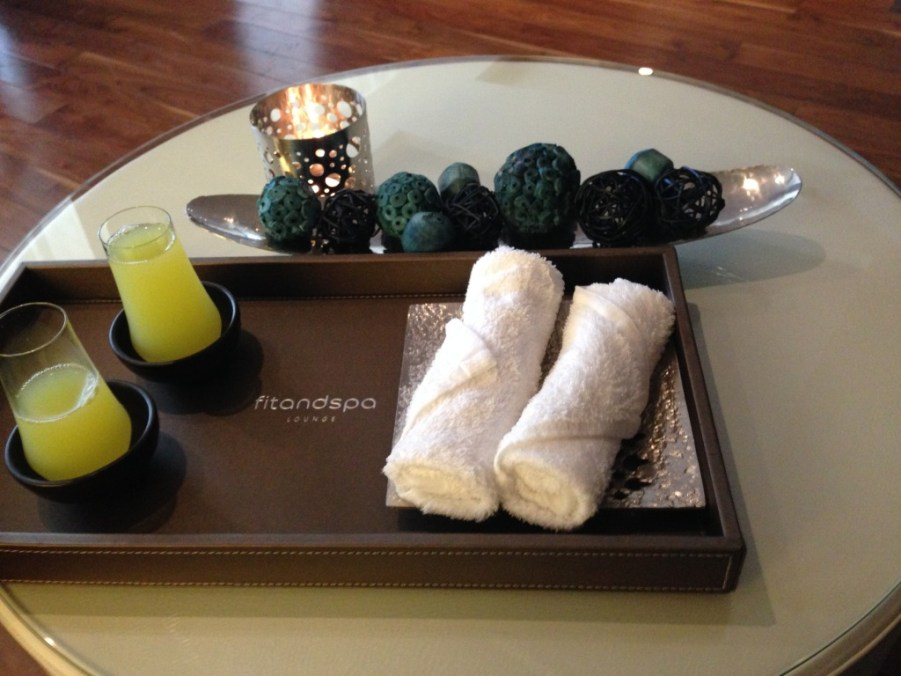 Fresh towels and juice to start the spa experience.