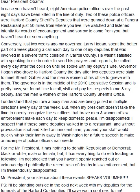Sheriff DeWees Letter