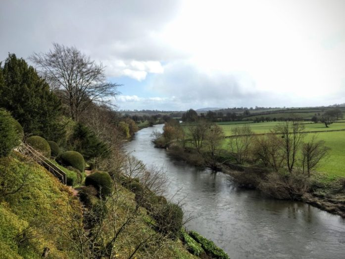 A rainy view of the Rivery Wye from the Weir Garden, National Trust in Herefordshire