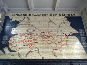 Victoria Station Manchester large tiled map of Lancashire and Yorkshire railway