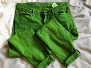 October Buys   Jacquard 'Kelly Green' Dye on Levis Jeans