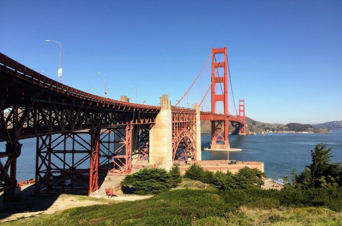Walking over the Golden Gate Bridge