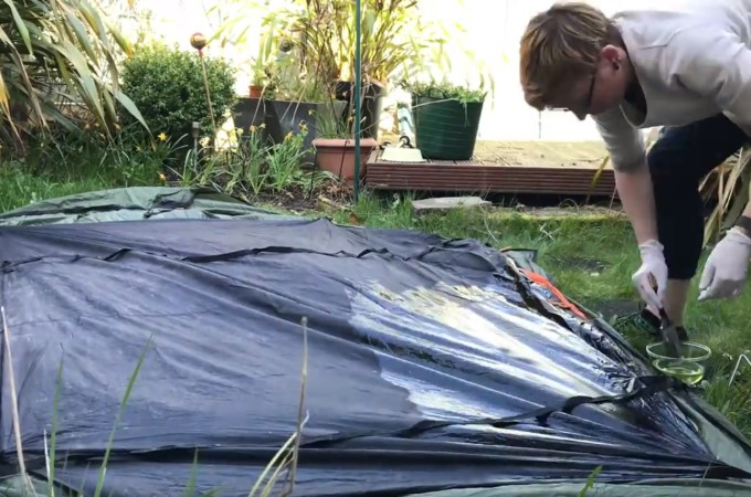 How to reproof your tent groundsheet with Grangers Fabsil