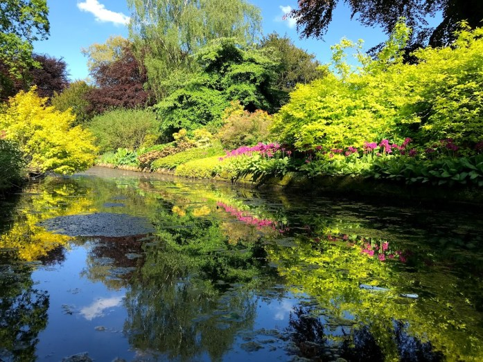 Reflections of a colourful border in the Dunham Massey Garden by the lake