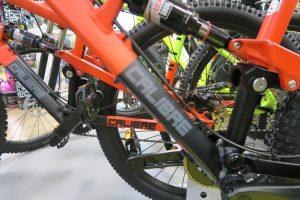Cloesup of the full suspension bikes at Go Outdoors Preston