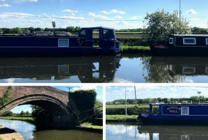 Canal views and narrow boats on the Bridgewater Canal near Dunham Massey