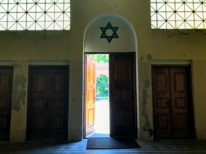 The Synagogue door at the Łódź Jewish Cemetery has an arched top with the nine pointed star of David above it and trinagular grid lined windows to the sides