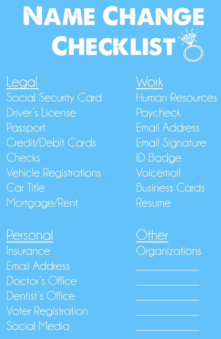 Name Change Checklist | The Urben Life