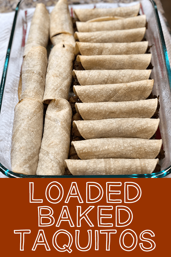 Loaded Baked Taquitos are stuffed with ground beef, onion, and potato. Perfect for an appetizer or entree. Homemade, easy, and delicious!
