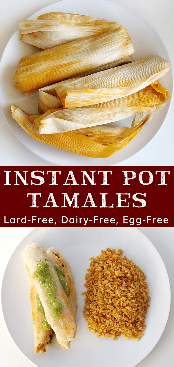 Instant Pot Tamales are lard-free, dairy-free, and egg-free. Depending on what filling you choose, they can easily be made vegan or vegetarian.