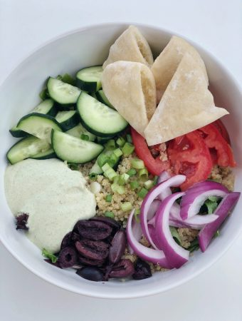 Mediterranean Quinoa Bowls with Cashew Tzatziki Sauce
