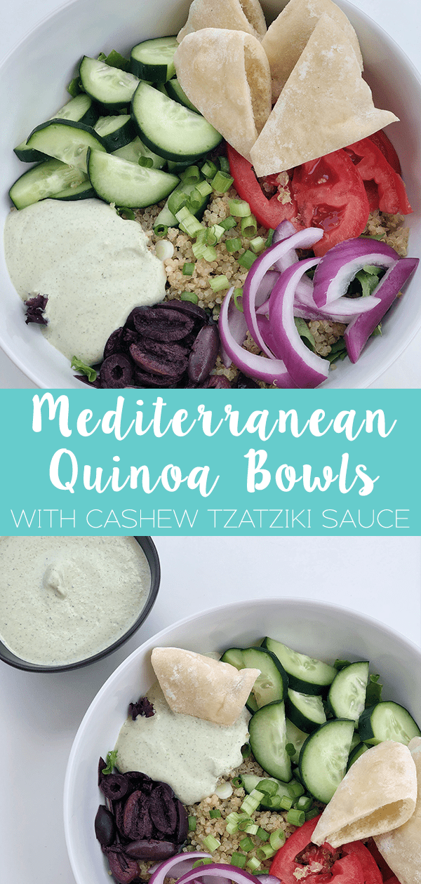 Mediterranean Quinoa Bowls with Cashew Tzatziki Sauce comes together with mixed greens, quinoa, cucumber, tomato, red onion, green onion, and olives.