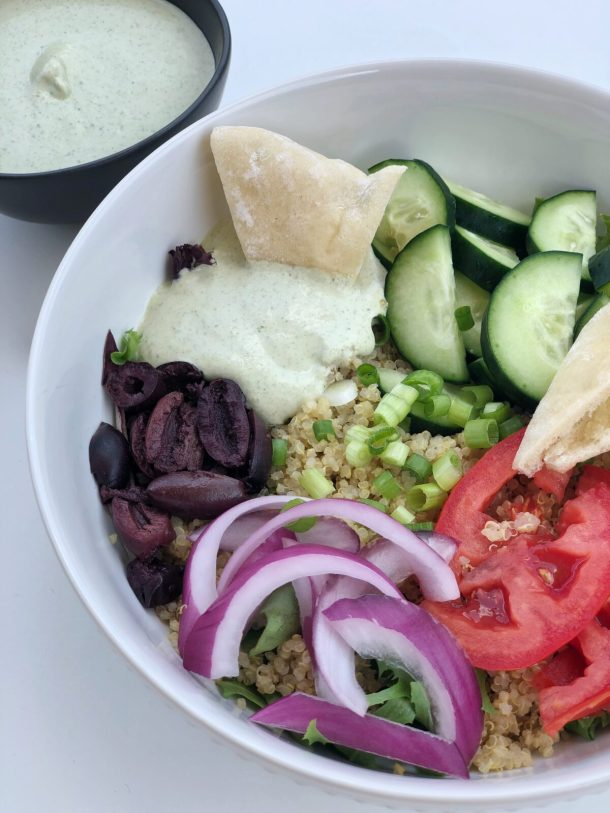 Quinoa Bowls with Cashew Tzatziki Sauce