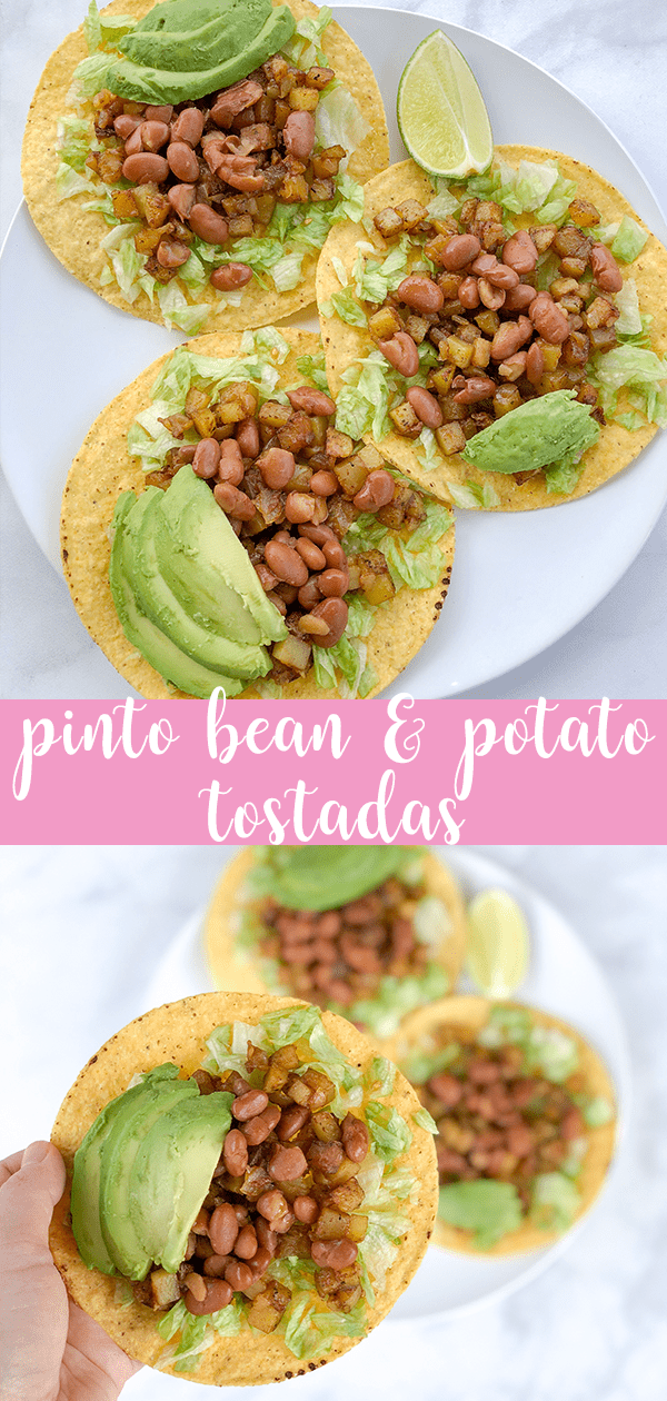 Pinto Bean and Potato Tostadas are quick, easy, and vegan, and delicious. Seasoned beans and potatoes piled high on shredded lettuce, topped with sliced avocado.