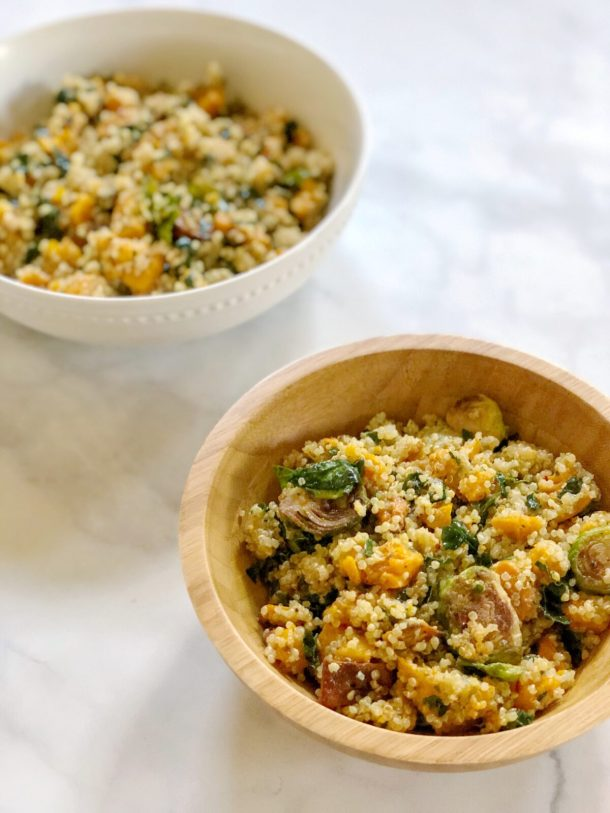 Quinoa Salad with Roasted Butternut Squash, Brussels Sprouts, andMassaged Kale is the perfect fall lunch bowl tossed with a delicious homemade apple cidervinaigrette.