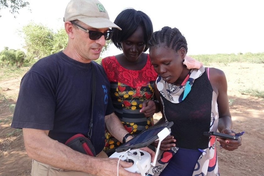 Paul Bauman, pictured with Lillian and Anna, two of the students in the GWB class. They are collecting data in Kakuma, Kenya.