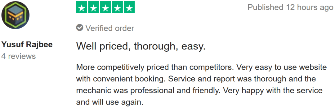review via TrustPilot